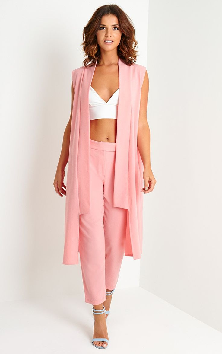 Pink to make 'em wink! Style it out in our Lyndi Pink Crepe Trousers, £25 and Meela Pink Sleeveless Duster Jacket, £25 #PrettyLittleThing #LucyMecklenburgh