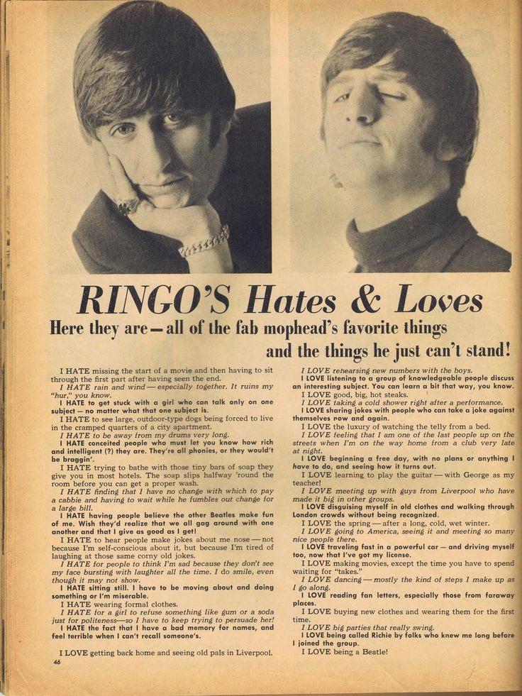 An article about Ringo in a 60s magazine