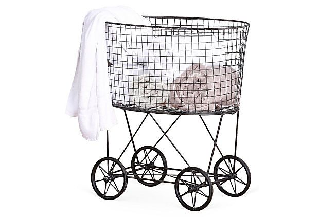 Wire laundry basket w wheels laundry baskets wheels for Laundry room baskets with wheels