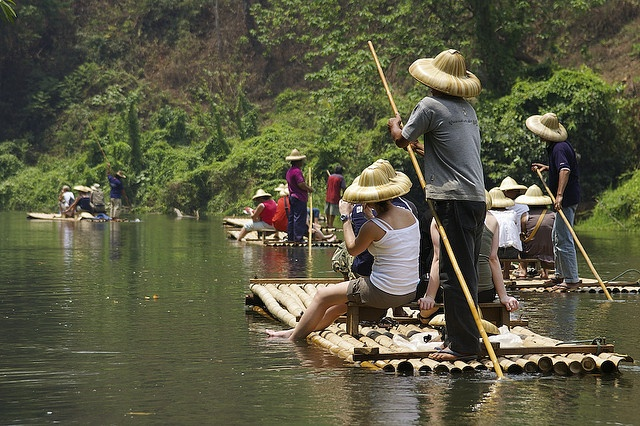Bamboo rafting, in Chiang Maii, Thailand, dress to get wet.  The locals, young and old are playful!