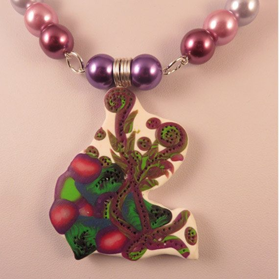 Unique Cherry Branch Necklace Anniversary Gifts Purple/Green
