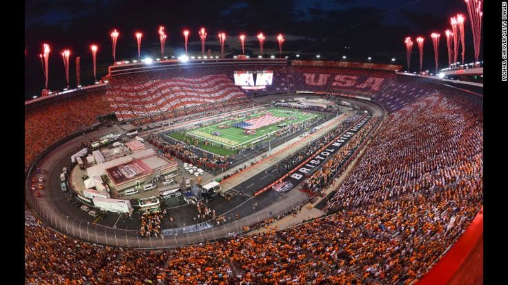 Bristol Motor Speedway, in Bristol, Tennessee, hosted a college football game between Virginia Tech and Tennessee on Saturday, September 10. It set a new NCAA attendance record with a crowd of 156,990.