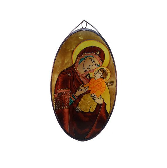 Mary with little Jesus  Painted Glass  Icon by KorosiArt on Etsy