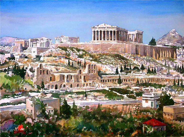 ACROPOLIS \\ Zografos Pantelis Lyrics. Greece in watercolors