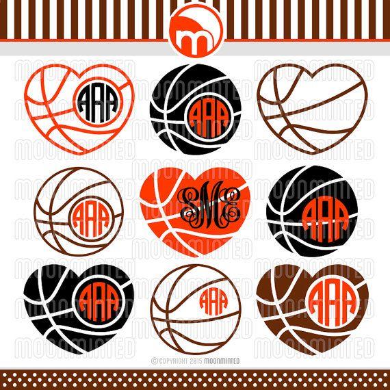 Basketball SVG Cut Files Monogram Frames for Vinyl by MoonMinted