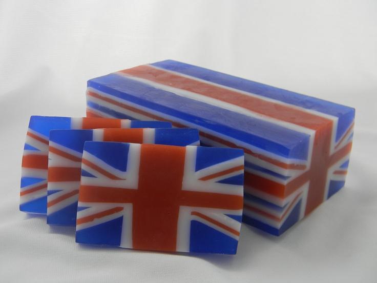 British Flag Soap - London Olympics - special olympics - 2012 olympics - olympics party. $6.50, via Etsy.