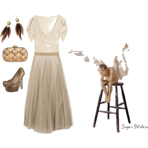 Maje Escadril washed-silk wrap-effect top $210 Chloe silk-tulle skirt $1950 Yves Saint Laurent Tribtoo metallic leather pumps $795 straw box oversize stone bag $80 H&M boho feather earrings in turquoise and brown