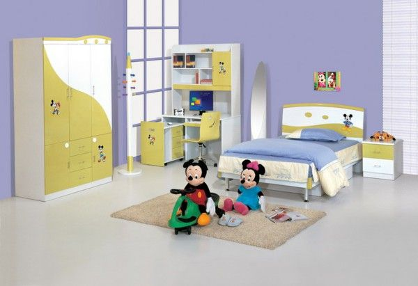 Nursery idea purple Miki mouse carpet bed yellow