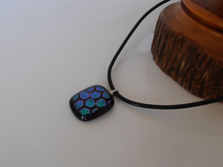 Leather Necklace with Original Art Glass Pendant by Australian Artist Travis Collins.  Gift Boxed. by CarawayKeepsakes on Etsy