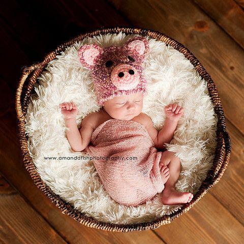 SO CUTE!  Little Miss. Piggy Hat - for baby girls