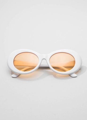 Retro 1990S Oval Sunglasses - White-Orange