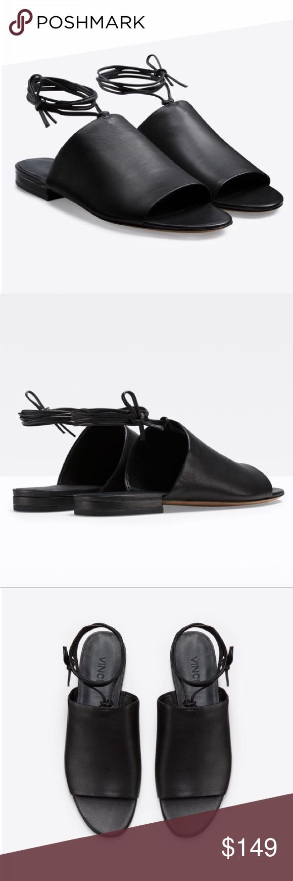 Vince Damon Black Leather Flat Sandals 7 Covered vamp and ankle-tie define Vince Damon leather slide sandal.  Ultra-smooth hand feel. Leather wrap detail. 12mm tonal leather sole. Padded insole. 100% Italian calf leather. Made in Italy. Color: black.  Size: 7.  Brand new with a box. Dust-bag is included. Vince Shoes Flats & Loafers