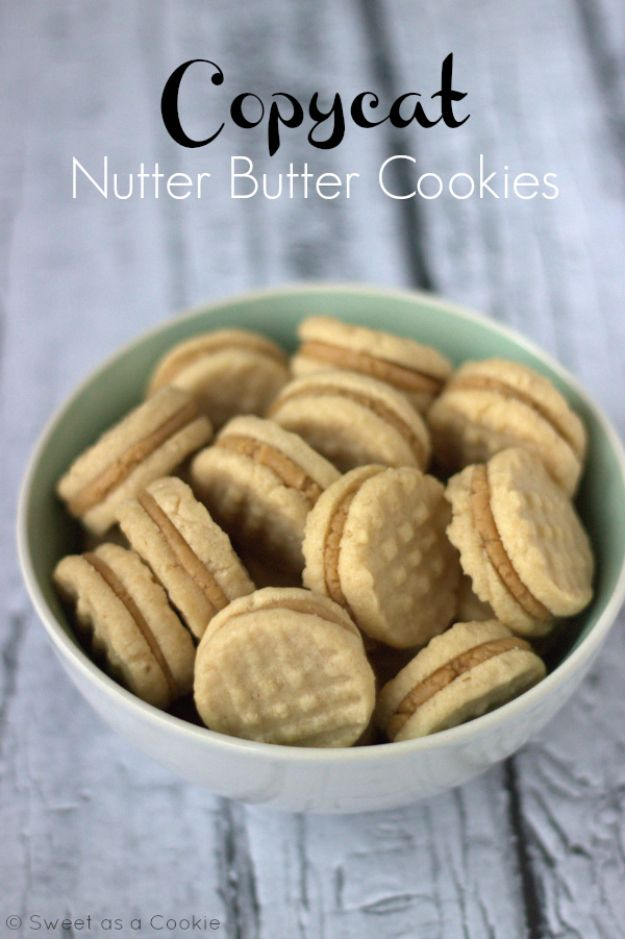 50 More Best Copycat Recipes From Top Restaurants - Copycat Homemade Nutter Butter Cookies - Awesome Recipe Knockoffs and Recipe Ideas from Chipotle Restaurant, Starbucks, Olive Garden, Cinabbon, Cracker Barrel, Taco Bell, Cheesecake Factory, KFC, Mc Donalds, Red Lobster, Panda Express http://diyjoy.com/best-copycat-restaurant-recipes