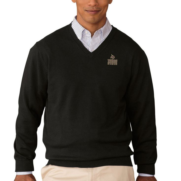 Texas State Bobcats Clubhouse V-Neck Pullover Sweater - Black