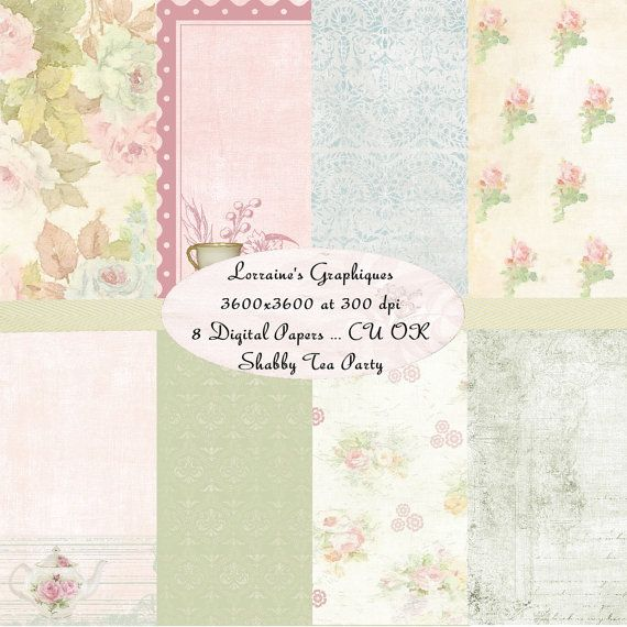 Shabby Tea Party:  A Shabby Chic Inspired Digital Paper Background Pack