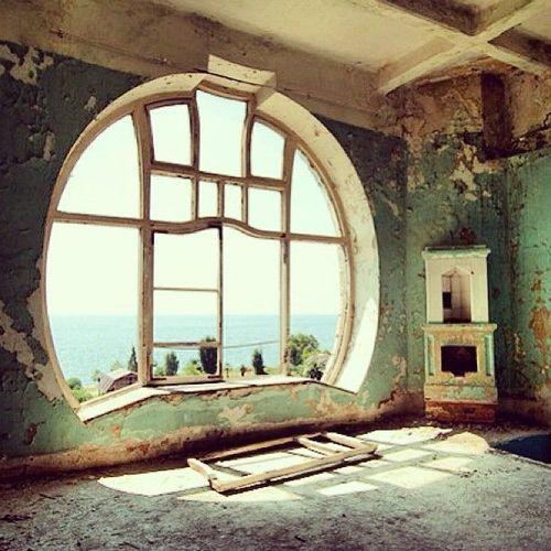 "Beautiful Art Deco ""rising moon"" Window. It's so sad there are so many abandoned places with such stunning architecture & craftsmanship. Plus in this case, look at that view!!"
