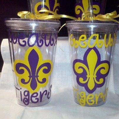 LSU Geaux Tigers Acrylic Tumblers by PinkLemonDesignz on Etsy, $12.00