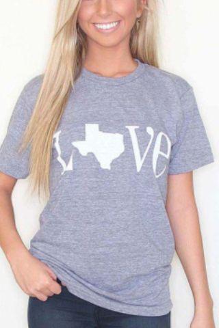 Kiki La'Rue Love Texas Shirt- Gray and White.
