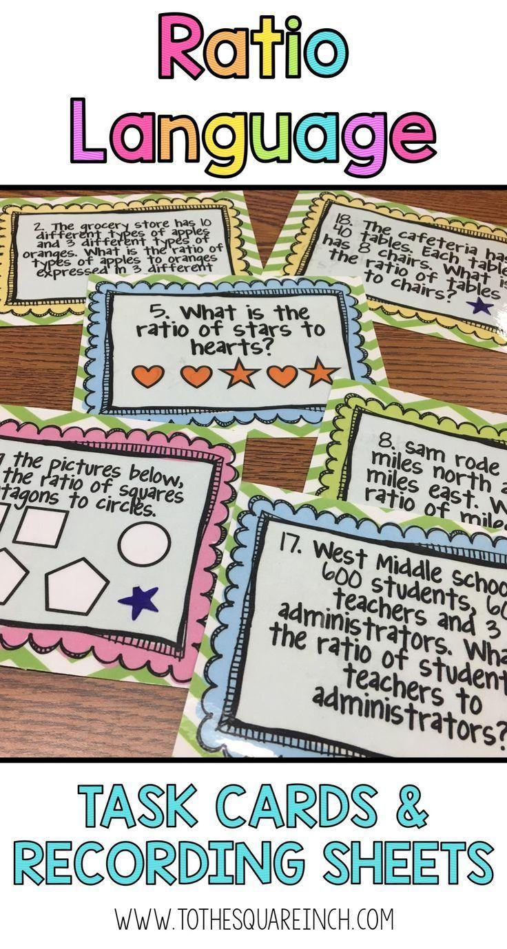 Ratio Task Cards 6th Grade Math Activities Pinterest Task