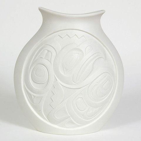 """Porcelain Vase, 'Eagles'. Design by Terry Jackson, 10 1/2"""" x 9 1/2"""" x 3"""", design is different on both sides, $170.00 CAD. Available at Northwestcoastgifts.com."""