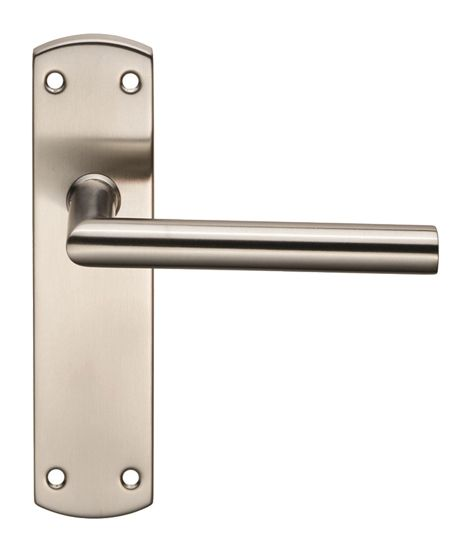 Eurospec Mitred Stainless Steel Door Handles On Backplates, Satin Stainless Steel - CSLP1162SSS (sold in pairs) None