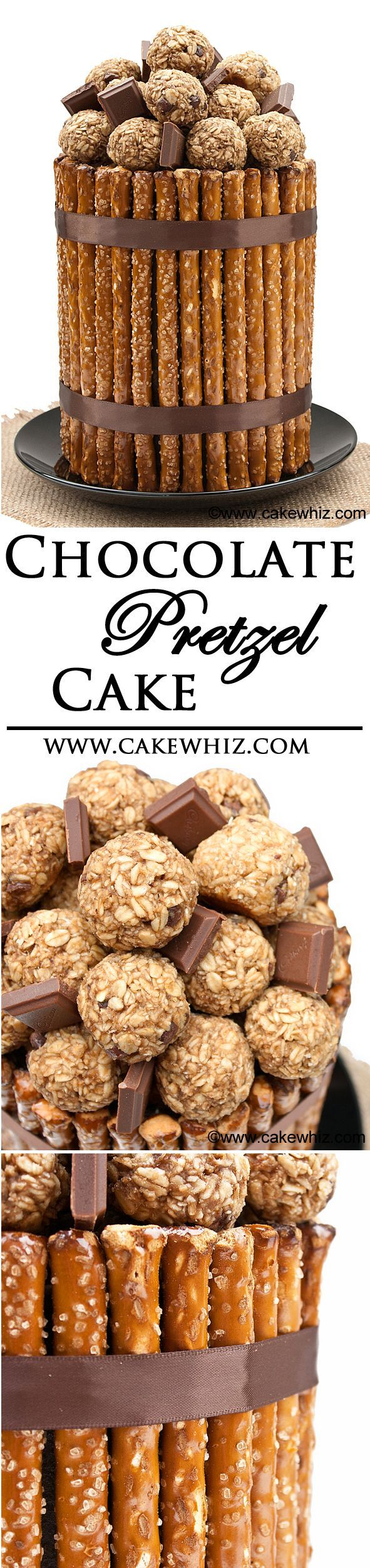 PRETZEL CAKE .... An awesome double decker chocolate cake frosted in chocolate buttercream and then covered in pretzel rods and topped off with chocolate peanut butter balls! From cakewhiz.com