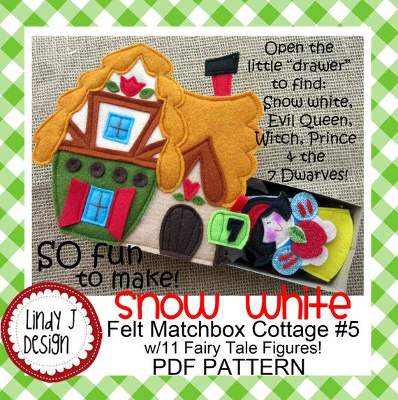 "SPECIAL OFFER: Buy 3 Matchbox Cottages, Get 1 FREE!  Recreate the favorite Fairy Tale story of SNOW WHITE & the 7 DWARVES with the PDF PATTERN for an adorable felt MATCHBOX Cottage and 11 felt characters!  The FELT 7 DWARVES Cottage is featured on the matchbox.  Pull out the ""drawer"" to find: *Snow White *Evil Queen *Witch *Prince *7 Dwarves  The FELT figures can be used in 3 different ways: 1. Leave the bottom open for FINGER PUPPETS. 2. Insert a small spool in the open end to make STAND-UP…"