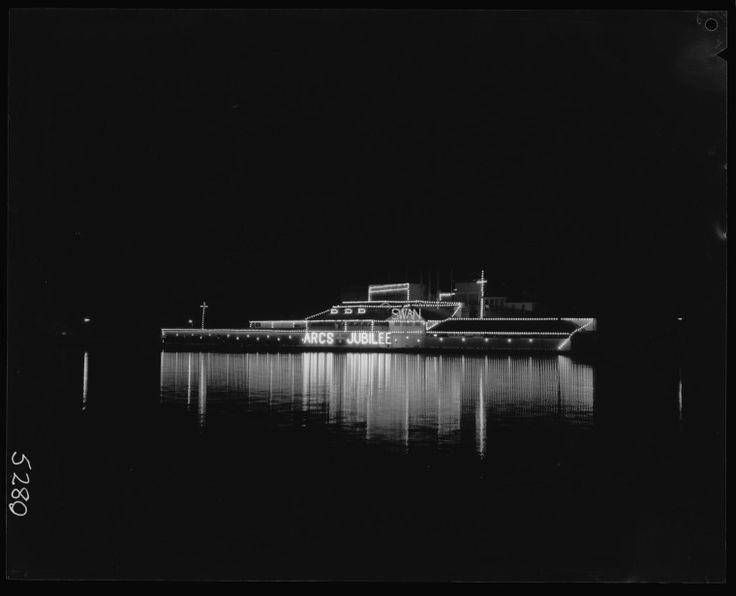 266258PD: Lights form a ship on the Swan Brewery building to celebrate the 50th anniversary of the Australian Red Cross Society, 7 March 1964  https://encore.slwa.wa.gov.au/iii/encore/record/C__Rb2445791