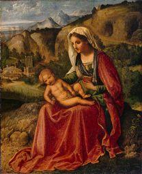 Giorgione (Castelfranco Veneto, 1477/1478 - Venise, 1510)<br/><i>Vierge à l'enfant dans un paysage</i>, Vers 1503<br/>Huile sur toile<br/>44 x 36.5 cm<br/>GE 185<br/>Saint-Pétersbourg, musée de l'Ermitage