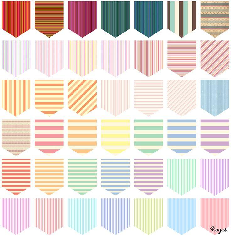 Freebies: 215 (x3) Modelos de Banderines para crear tus propias cadenas | Miss Lavanda