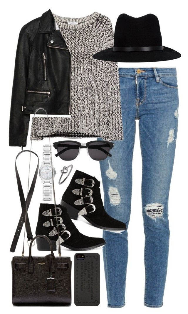 """Outfit for a lunch out"" by ferned ❤ liked on Polyvore featuring Frame Denim, MANGO, Zara, H&M, rag & bone, Toga, Burberry, Yves Saint Laurent and Marc by Marc Jacobs"