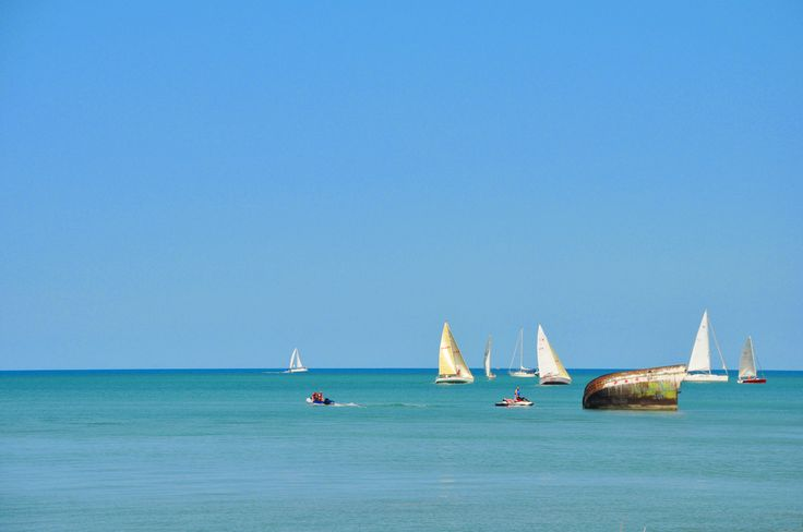 The beach, and sailboats in Bayfield, Ontario