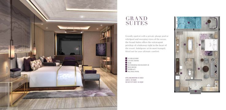 "Type "" Grand Suite "", size 84 sqm  ""New World Grand Bali Resort""  Located in Jln Uluwatu Raya, in 10,8 ha land.  Spectacular Sunset, next to Golf Course, luxurious facilities.. Coming soon 2017.  Luxury Suites & Villas available to purchase, pls contact +6281808050505  Link : http://youtu.be/9Jng_b7NarE  Www.nwgrandbali.com"