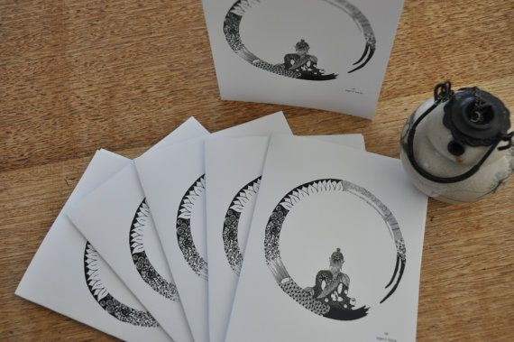 buddha in zen circle - pack of six cards on Etsy, $10.00 AUD