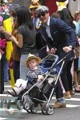 Matthew Settle, Gossip Girl star, was photographed with daughter Aven at the Easter Parade on Fifth Ave in NYC in the UPPAbaby G-LUXE Stroller