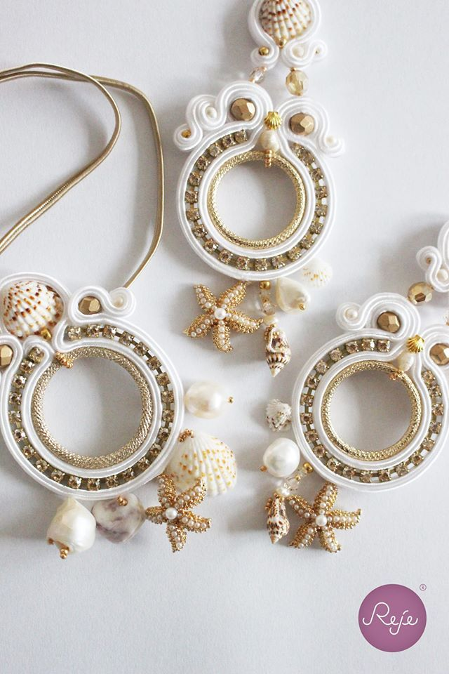 Soutache earrings and bracelet, with shells and starfish. Entirely hand-sewn by Reje, Italian jewelry designer.