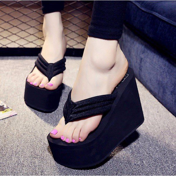 EVA Clip Toe Flip Flops High Heels Platform Beach Slippers