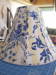 Almost no sew------ Re-Cover Lamp Shade
