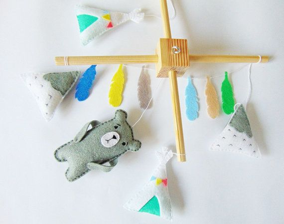 Baby Moblie  Bear mountains teepee garlands of by SkandiDekor