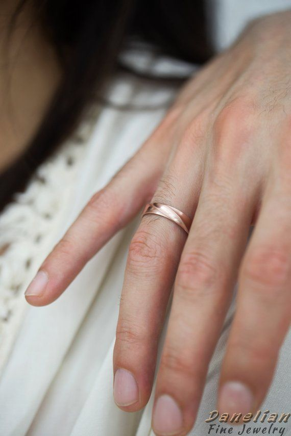 Wedding Ring Set Wedding Band His And Her Couple Wedding Band Men And Women Rings Rose Gold Mobius Ring Set Mobius Wedding Band Gold