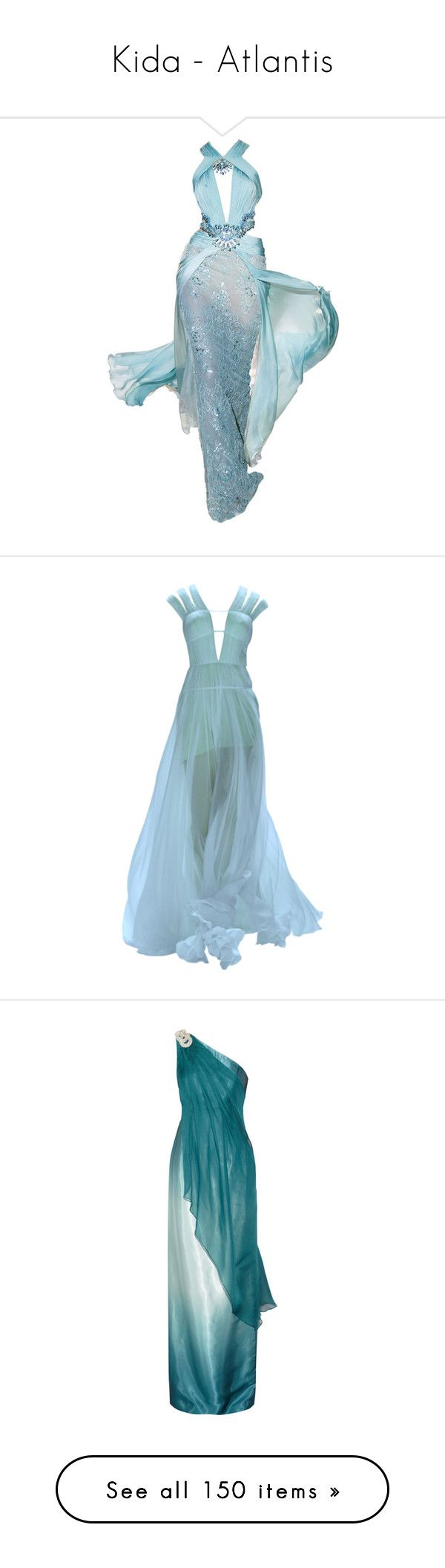 """""""Kida - Atlantis"""" by disneydressing ❤ liked on Polyvore featuring dresses, gowns, long dresses, blue, vestidos, atlantis, blue dress, blue evening dresses, tadashi shoji and blue evening gown"""