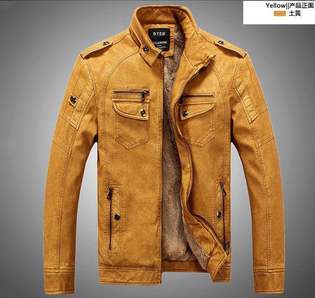 Leather Blazer Jacket Men PU Winter Coat Faux Sheepskin Fur Coat Leather Jacket