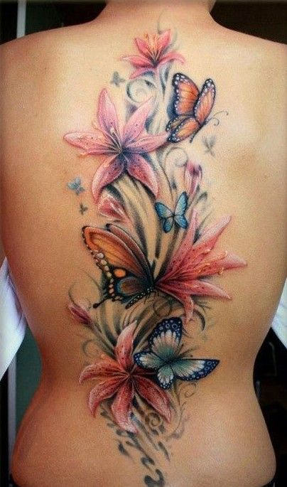 Delicious full back flower tattoo. Click to discover more Sensational Flower Tattoos.