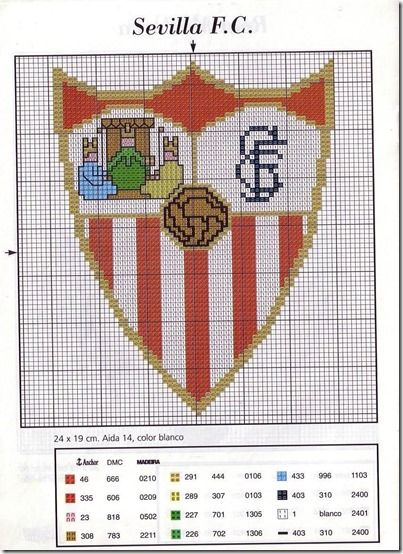 Escudo de fútbol Sevilla punto de cruz | Tu Punto de Cruz