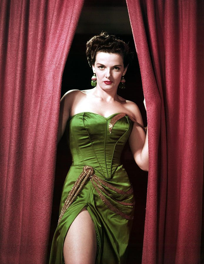 Jane Russell Opening Curtains And Showing Leg Stars