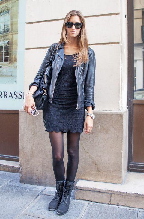 お手本はパリジェンヌ❤︎歩きやすいブーツにレザージャケットをオン☆旅行用ファッション アイデア