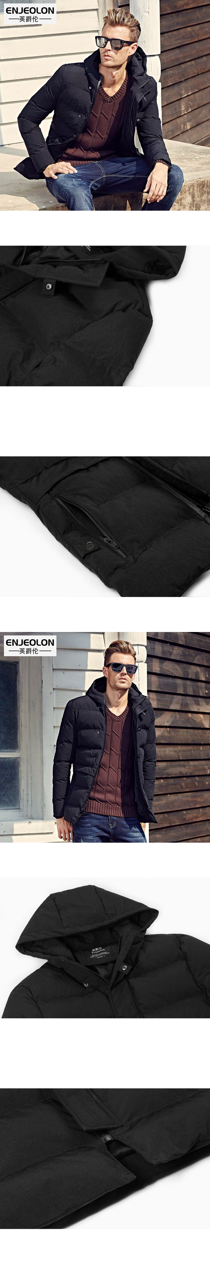 Enjeolon brand 2017 Winter Cotton Padded Hooded Jacket Men,Waterproof Parka Men Clothing Thick Quilted Coat Mens Hoodies MY0286