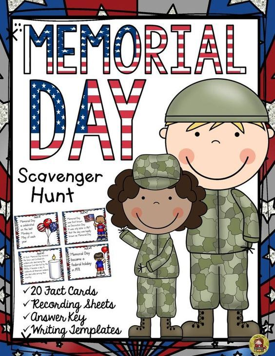 When did Memorial Day become a federal holiday? What is often played at ceremonies on Memorial Day? What is the National Moment of Remembrance? Your students will enjoy knowing the answers to these and many more interesting questions with this 20 Scavenger Hunt Fun Facts pack on Memorial Day.  www.teacherspayte...