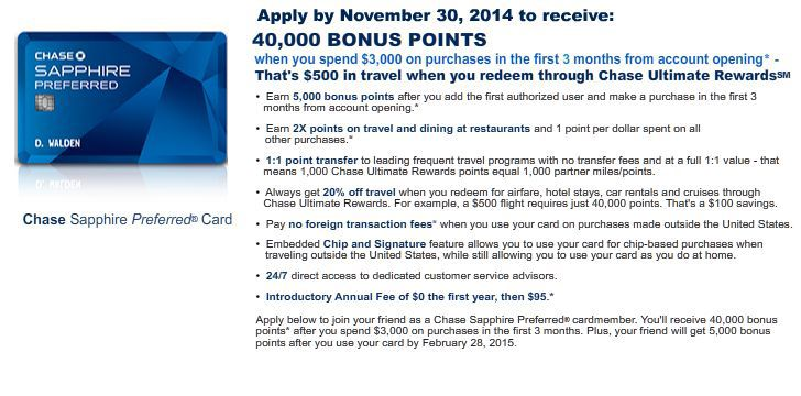 Chase Credit Card Application--Nov. 30th deadline