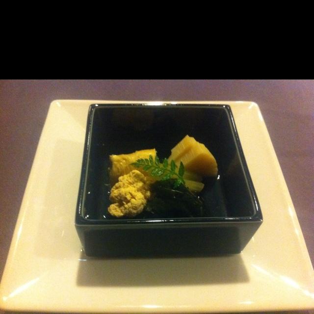 boiled bamboo & sea bream roe.